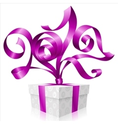 Purple ribbon and gift box symbol of new year 2017 vector