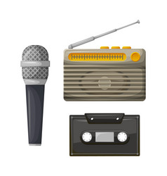 radio with antenna and cassette with microphone vector image