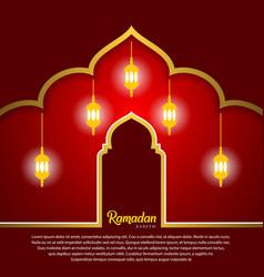 Ramadan kareem greeting card design with arabic vector