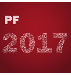 red happy new year pf 2017 from little snowflakes vector image