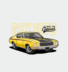Ride classic - yellow muscle car 1970 vector