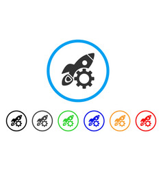 rocket development rounded icon vector image