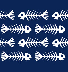 seamless pattern with skeletons fishes vector image