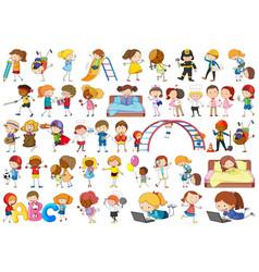 Set doodle kids character vector