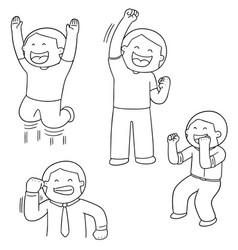 set of celebrating people vector image