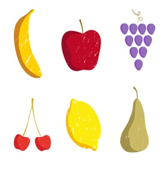 Set of fruits isolated on a white vector image