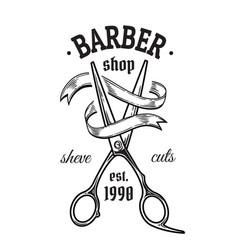 set vintage barbershop emblems labels badges vector image