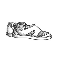 Shoes for aqua sport and diving monochrome vector