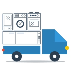 Shop delivery services truck icon flat vector