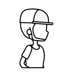 side view young man portrait character thick line vector image
