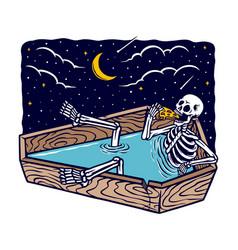 Skull bathing while eating pizza vector