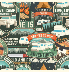 summer camp colorful seamless pattern with rv vector image