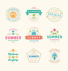Summer holidays labels and badges retro typography vector