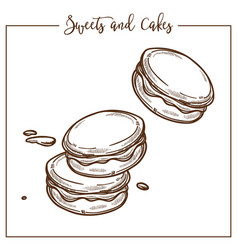 Sweets and cakes cookies and biscuits snacks vector