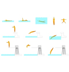 Swimming human sport silhouettes vector