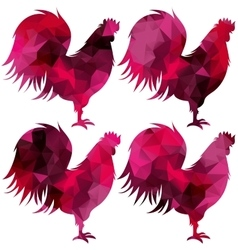 Triangular geometric polygonal rooster isolated vector