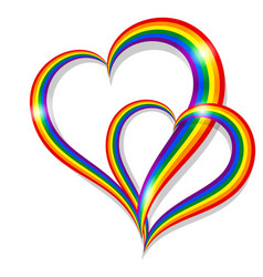 two rainbow pride heart shape symbol lgbt vector image
