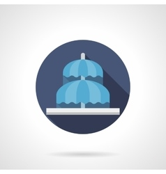 Umbrella fountain flat color round icon vector image
