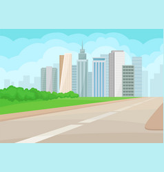 urban landscape with road high-rise buildings vector image