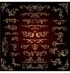 Victorian set golden ornate page decor vector