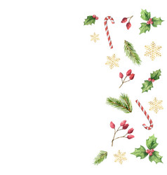 watercolor christmas card with green leaves vector image