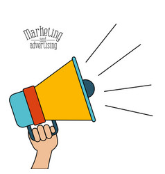 white background with colorful megaphone marketing vector image