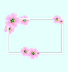 white frame with pink sakura flowers on a blue vector image