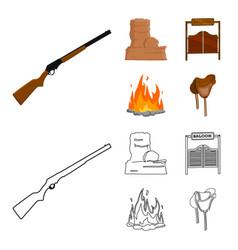 Winchester saloon rock firewild west set vector