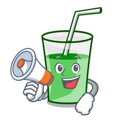 with megaphone green smoothie character cartoon vector image