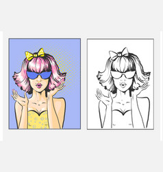 woman with pink bob bow and sunglases surprised vector image
