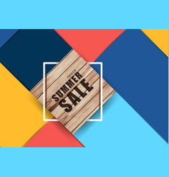 wooden banner with square frame and colorful vector image