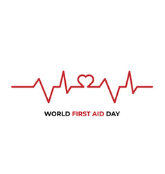 world heart day web banner red heartbeat line vector image