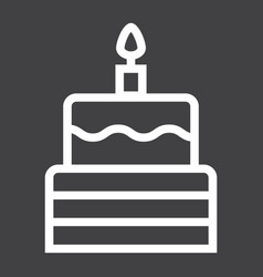 birthday cake line icon sweet and holiday vector image