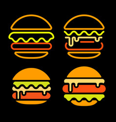 burger abstract outline logo set template vector image