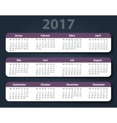Calendar 2017 year German Week starting on Monday vector image