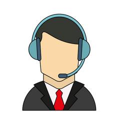 color graphic guy customer service icon vector image