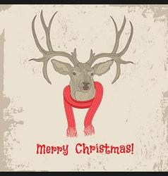 Deer vintage Christmas card animal vector image vector image