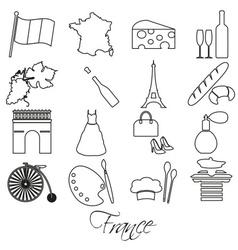 france country theme outline symbols and icons set vector image vector image
