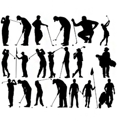 golfer silhouettes vector image vector image