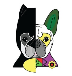 Hero vs villain characters in french bulldog styl vector