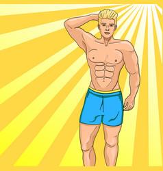 man sex symbol on the beach pop art vector image