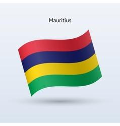 Mauritius flag waving form vector image vector image