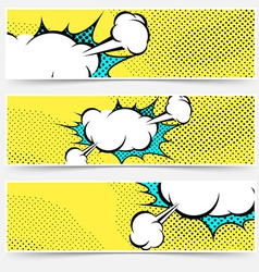 Pop-art comic book explosion card collection vector image