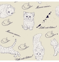 Seamless texture with kittens vector image vector image