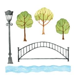Watercolor set of urban elements vector image vector image