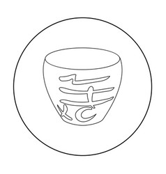 bowl icon in outline style isolated on white vector image vector image
