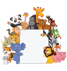 Wild animal cartoon with blank sign vector image vector image