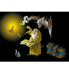 Wizard summons demon vector image vector image