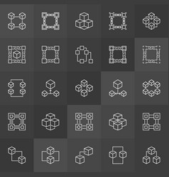 block chain icons collection blockchain vector image