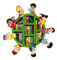 children of different nationalities read books vector image